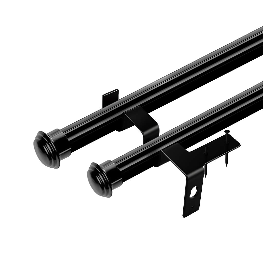 Bedroom TLBTEK 2 Pairs Double Curtain Rod Brackets,Black No Drill Hang Curtain Rod Holder,Adjustable Quick Hang Curtain Brackets Tap Right Into Window Frame for Window Home Curtain rods,Drapery Rod