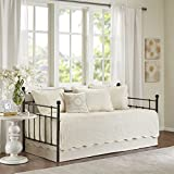 6 Piece Ivory Floral Daybed Cover Set, Geometric Coastal French Country Shabby Chic Motif Flower Scalloped Edges Pattern Day Bed Bedskirt Pillows, Polyester