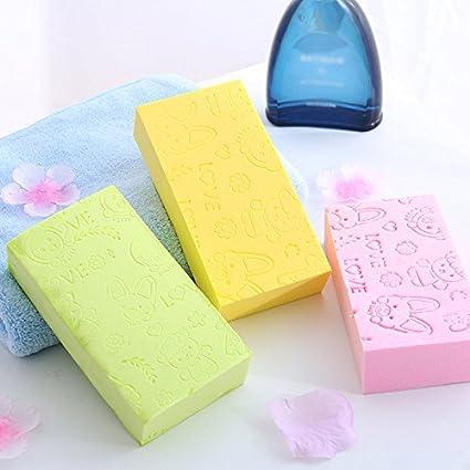 /Éponge douce couleur solide du bain de la bande dessin/ée pour les enfants 13 3 cm bleu 7