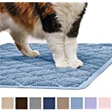 GORILLA GRIP Original Premium Durable Cat Litter Mat, XL Jumbo, No Phthalate, Water Resistant, Traps Litter from Box and Cats, Scatter Control, Soft on Kitty Paws, Easy Clean Mats (Corner: Light Blue)