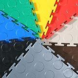 """Daytona Vinyl Interlocking Floor Tile System """"Light Grey"""" 6 Tiles, Each Tile 2.6 Sq Ft 19 5/8"""" X 19 5/8""""coin Top Finish Garage Tile"""