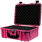 STR8Brand 17'' Weather Resistant, Smellproof, Lockable, Glass Protector, Outdoor Carrying Case for Multi-Purpose with Pluck Foam (Electric Pink) - STR8 Brand