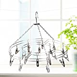 MAZIMARK-''20 Clips Stainless Steel Drying Hanger Rack Laundry Sock Bra Kids Clotheslines''