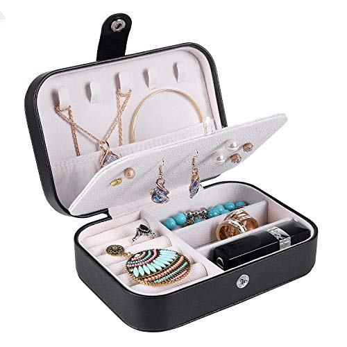 misaya Travel Jewelry Box Case - Women Small 2 Layer Jewelry Holder PU Leather Jewelry Organizer for Earring Ring Necklace, Black