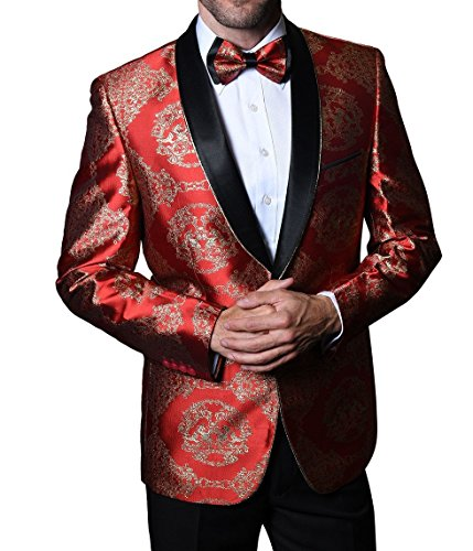 Statement SJ103 Mens Polished Red Gold Tux Blazer Jacket + Bow Tie (52L Jacket) -