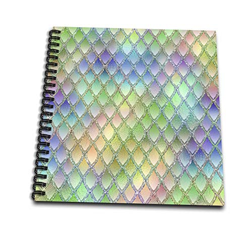 (3dRose Anne Marie Baugh - Patterns - Glam Pastel and Silver Color Dragon Scales Pattern - Drawing Book 8 x 8 inch (db_295465_1) )