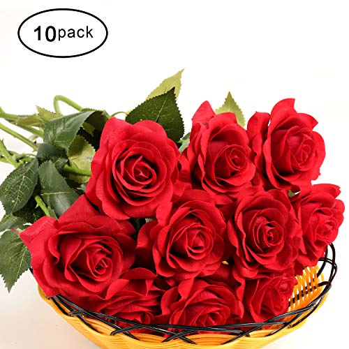 KISMEET Artificial Roses Fake Silk Flowers Real Touch Long Stem for Wedding Party Home Office Outdoor Craft Decoration, Pack of 10 ()