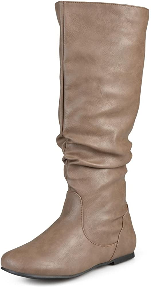 Brinley Co. Womens Extra Wide-Calf Mid-Calf Slouch Riding Boots Taupe, 8.5 Extra Wide Calf US