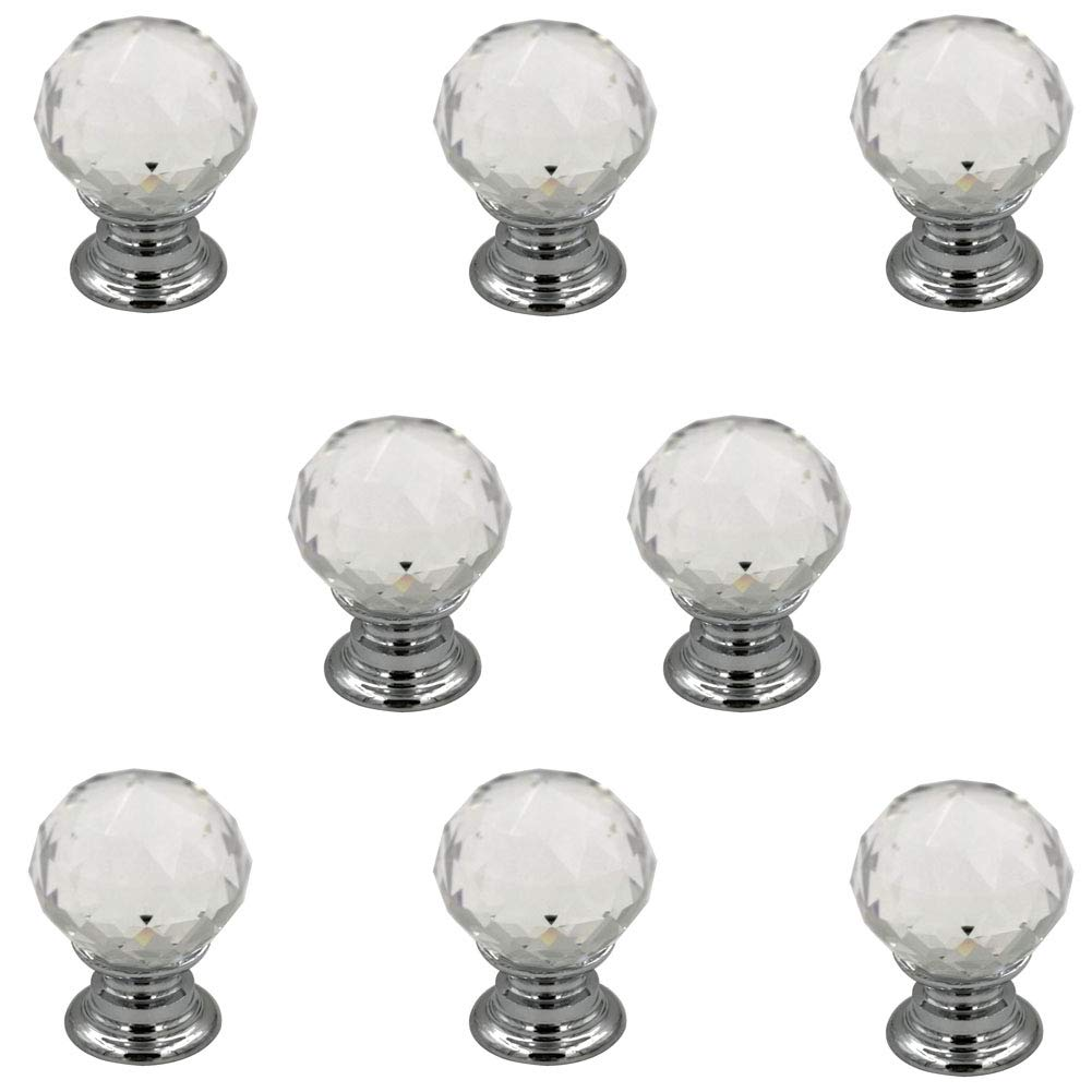 Jingyi E-commerce 8 Pcs Crystal Ball Cabinet Drawer Mini Metal Jewelry Box Gift Case Knobs Single Hole Pull Handles