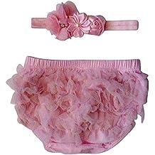 The Ruffled Bum Pink Chiffon Bloomer Diaper Cover With Matching Headband