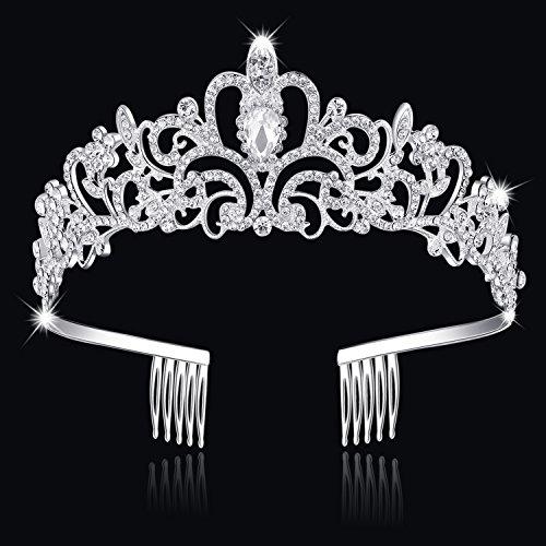 BABEYOND Princess Tiara Crown with Comb Crystal Wedding Tiara Rhinestone Bridal Crown Headband