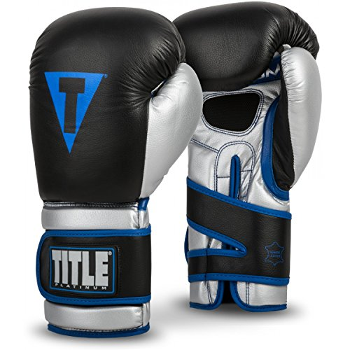 Title Boxing TITLE Platinum Perilous Training Gloves, Black/Silver/Blue, 16 (Title Boxing Foam Boxing Gloves)