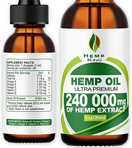 Hemp Oil Drops 240 000 mg, 100% Natural Extract, Natural Dietary Supplement, Rich in Omega 3&6 Fatty Acids for Skin & Heart Health, Vegan Friendly