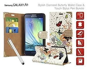 Samsung Galaxy A3(2015) Sm-A300fu-Mariposa con Diamantes Funda de piel sintética con tapa, protector de pantalla y lápiz capacitivo, Big
