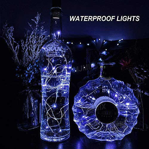 Wine Bottle Light with Cork,10 Pack Starry Fairy Lights battery Operated, LED Cork Shape Silver Wire Colorful Fairy Mini String Lights for DIY, Party, Decor, Christmas,Halloween,Wedding. (cool-white)