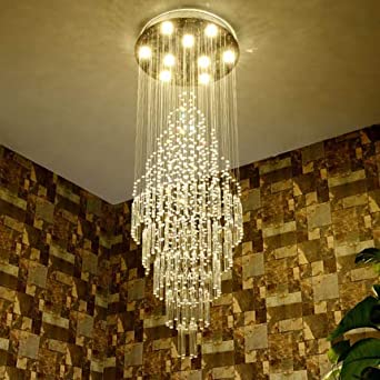Saint Mossi Modern K9 Crystal Raindrop Chandelier Lighting Flush Mount LED Ceiling Light Fixture Pendant Lamp for Dining Room Bathroom Bedroom Livingroom 8 x GU10 Bulbs Required H69 X D23