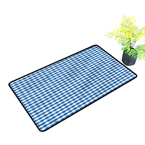 Door mats Outside Checkered,Gingham Monochrome Dress Up Your Doorway,H23xW35 inch ()