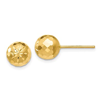 d299537cc Image Unavailable. Image not available for. Color: 14k Yellow Gold 8mm  Mirror Ball Post Stud Earrings Button ...
