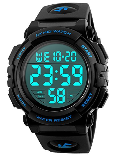 - Men's Digital Sports Watch LED Military 50M Waterproof Watches Outdoor Electronic Army Alarm Stopwatch Blue