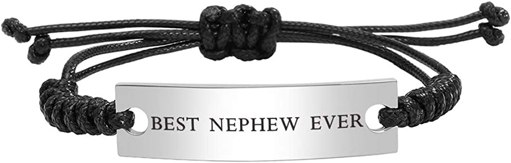 Stainless Steel Best Nephew Ever Bracelet for Boy Adjustable Mantra Jewelry: Clothing