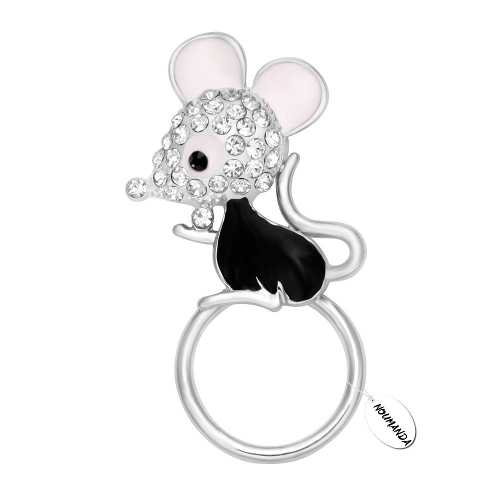 NOUMANDA Lovely Cute Mouse Crystal Rhinestones Mouselet Magnetic Eyeglass Badge Holder Brooch Pin (silver)