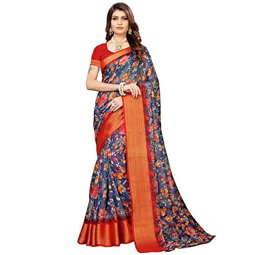 512W%2BZ3TYlL. SS500  - Akhilam Women's Printed Linen Saree with Unstitched Blouse Piece (Blue_BGBLT80006)