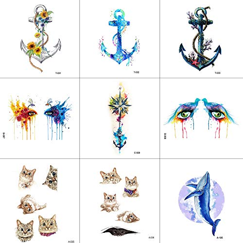 Temporary Tattoo,Tattoo Sticker Animals Stickers Anchor Eye Cat Whale 9 PCS And Easy to Use
