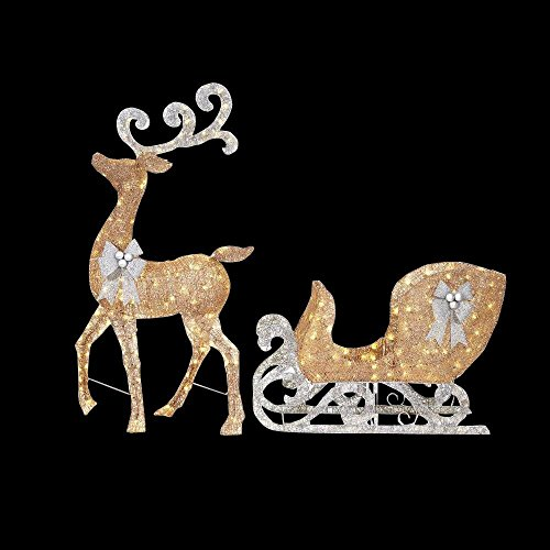 Gold Sleigh (65 in. LED Lighted Gold Reindeer and 46 in. LED Lighted Gold Sleigh with Silver Bows)