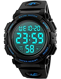 Men's Digital Sports Watch LED Military 50M Waterproof Watches Outdoor Electronic Army Alarm Stopwatch Blue
