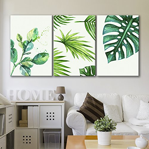 Tropical Wall Decor Art - wall26 3 Panel Canvas Wall Art - Watercolor Style Green Tropical Leaves - Giclee Print Gallery Wrap Modern Home Decor Ready to Hang - 16