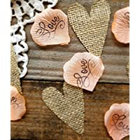 Rustic Wedding Decor, Coral Burlap Confetti- Table Confetti for Wedding Bridal or Baby Shower by Burlap And Bling Design Studio