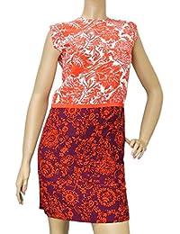 Womens Multi-Color Floral Silk T-Shirt Runway Dress 284037