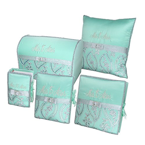 Quinceañera Accessory Set Bible Guest Book Photo Album Gift Box Kneeling Pillow - Mint 201 by DivaDesigns