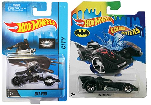 Hot Wheels 2015 Batman Bat-Pod w/ Batman Riding & Batman Batmobile Color Shifters 2-Car Bundle Set (Homer Simpson Muscle)