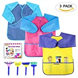SIMPZIA 3 Pack Kids Art Smock, Children Waterproof Artist Painting Aprons with 4 Paint Brushes - Long Sleeve - 3 Roomy Pockets - for Art, Craft, Cooking, Lab Activity - Ages 2-6