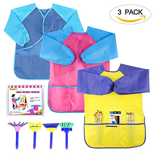 SIMPZIA 3 Pack Kids Smock Children Painting Aprons Overall with Long Sleeve - Waterproof 3 Roomy Pockets - for Art, Craft, Cooking,Lab Activity -Ages 2-6