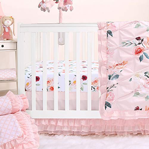 - Rose Watercolor Floral Blush Pink 4-Piece Baby Girl Crib Bedding Set by The Peanut Shell
