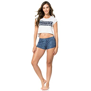 b8ddf11d254b Provocame Women Sexy Pajama Sleepwear Crop Top and Shorts Set (Blue  Hearts-Small)