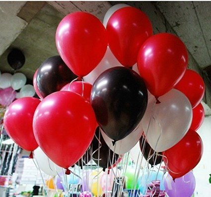 10 Inch White And Black And Red Latex Balloons for Party Balloons Decoration 100 (Black Red White)