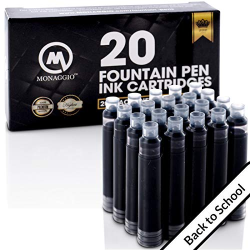 Black Ink Cartridges for Fountain Pens. Big Pack of 20 Short International Standard Size Cartridges. Perfect for Calligraphy Pen. Universal Fine Design with Incredible Long Lasting Shade School Supply