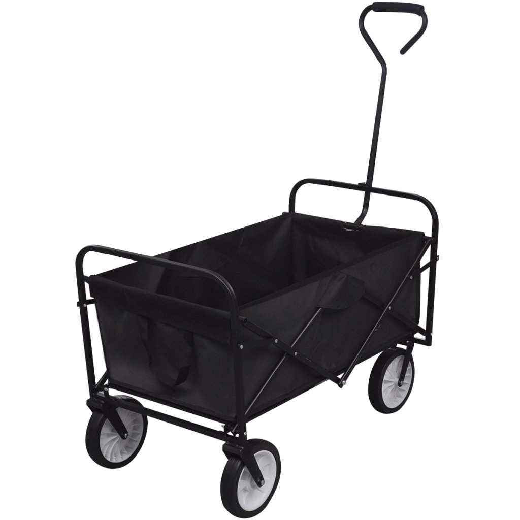 FOLDING WAGON CART - 35''x20''x22'' - Strong Lightweight Steel Frame - Reinforced Canvas Fabric - All-Terrain Wheels With 360 Degree Swivel Technology - Heavy Duty Handcart Dolly by Inspired Home Living