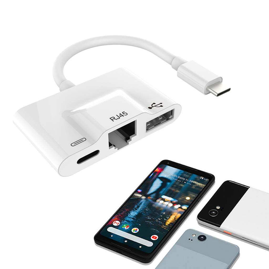 D DOLITY USB-C 3-Port Multi Function Adapter Splitter USB-C to RJ-45 Ethernet OTG