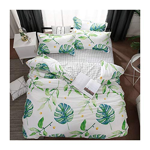 (KFZ Twin Duvet Cover Set, 3PCS Bedding with 1 Comforter Cover (No Comforter Insert), 2 Pillowcases, Banana Leaves Print, Breathable Bed Set for Kids and Teens)