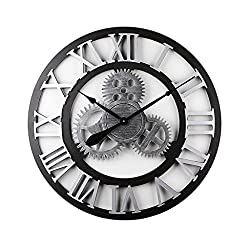 LANNA SHOP- Retro LOFT industrial Gear wall clock large Round creative home 3D handmade wall decorative clocks, Silver (Size : 70cm)