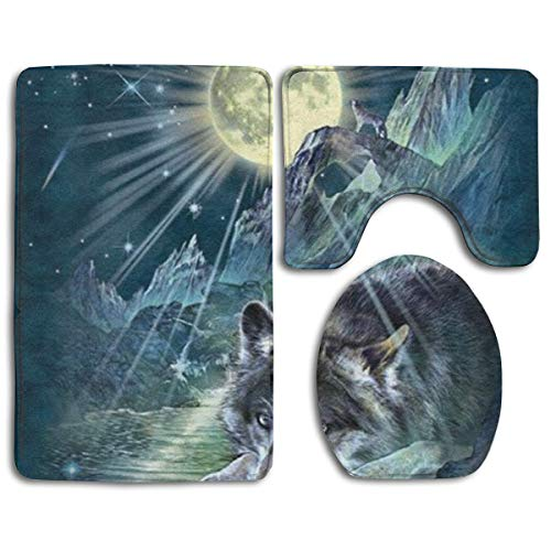 YGUII Symphony of The Night Wolf Print Bathroom Rug Mats Set 3 Piece, Non-Slip Bath Rugs + Toilet Seat Cover + Contour Mat