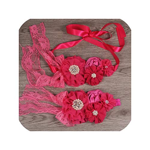 - 1Set/Lot Chiffon Flower Sash Matching Baby Headband Satin Rosette Flower Belt For Kids Maternity Sash,Hot Pink