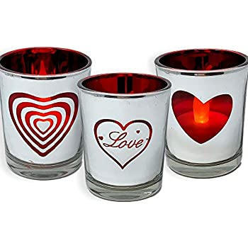 BANBERRY DESIGNS Heart and Love Candles - Set of 3 Silver Metallic Votive Candle Holders - 3 White Flameless Tealights Included-Love Hearts- Valentine's Day Decor- Valentine Gift