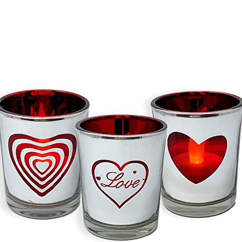 BANBERRY DESIGNS Heart and Love Candles - Set of 3 Silver Metallic Votive Candle Holders - 3 White Flameless Tealights Included-Love Hearts- Valentines Day Decor- Valentine Gift