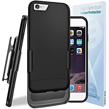 New iPhone 6S Ultra Slim [CASE & Clip Combo] Soft-Touch Slider Shell + Belt Clip Holster (Includes HD Screen Guard) Encased (Matte Black)