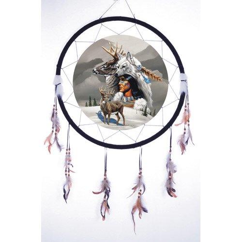 Quality Giant 26'' Diameter 40'' long Dream Catcher Night Native American Indian Hunter w Animals